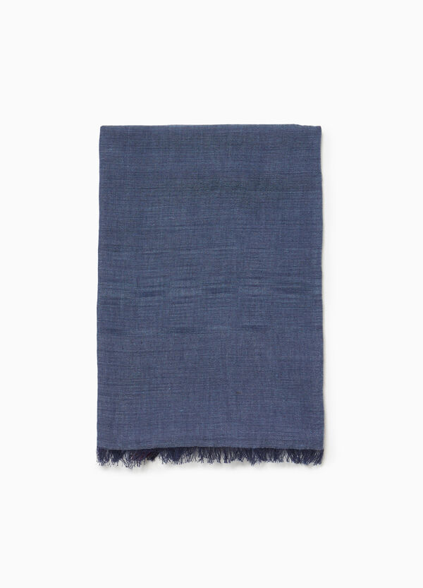 Fringed cotton and viscose scarf