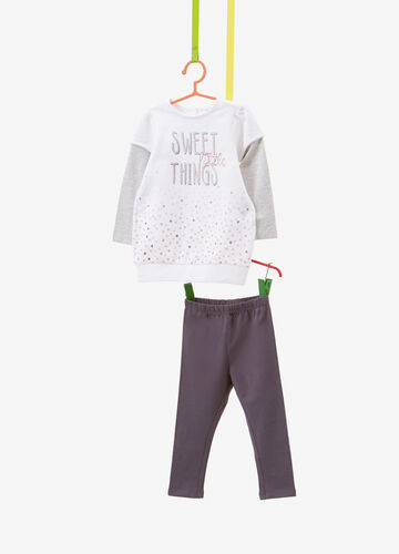 Tracksuit with degradé polka dots and faux layer