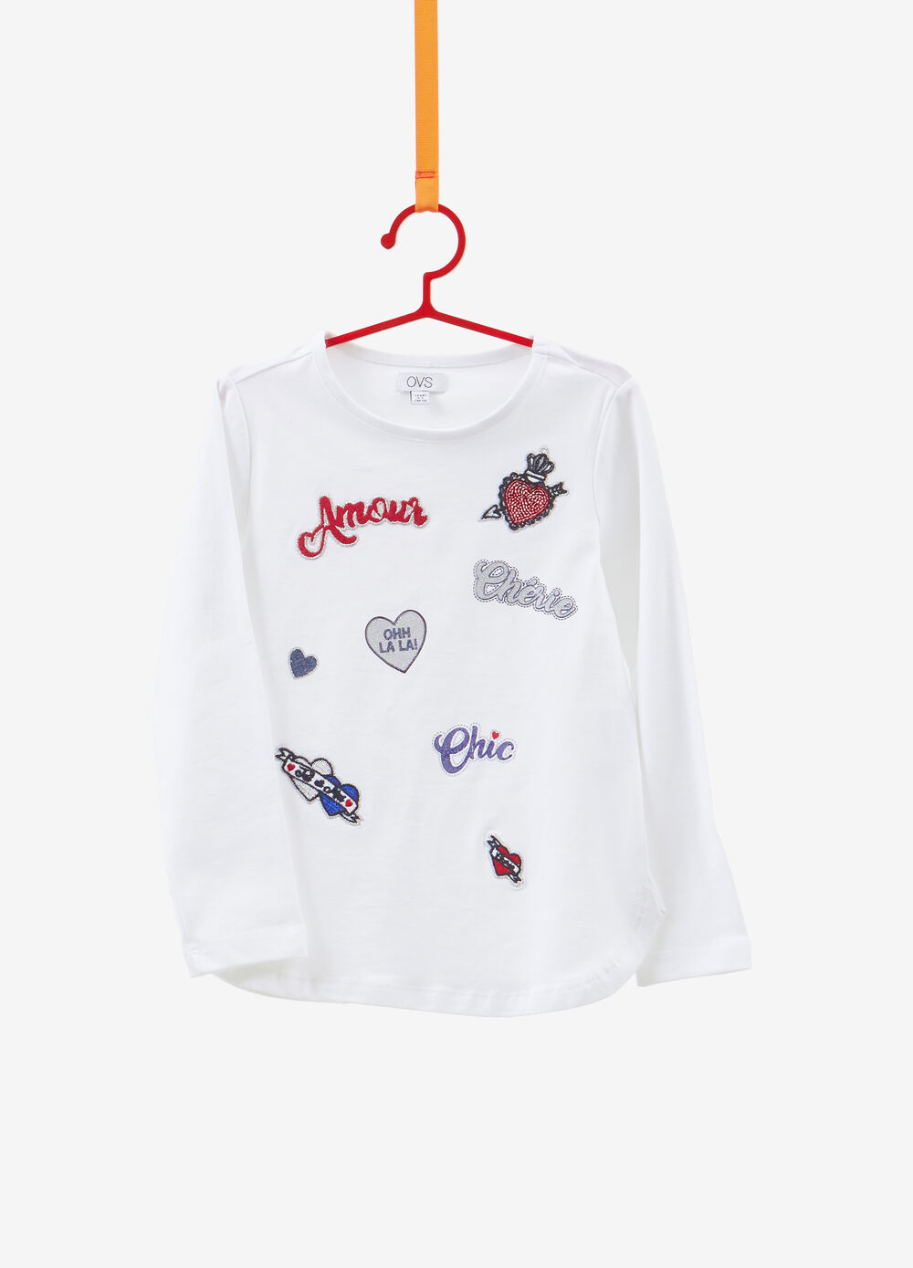 Stretch cotton T-shirt with patches and glitter