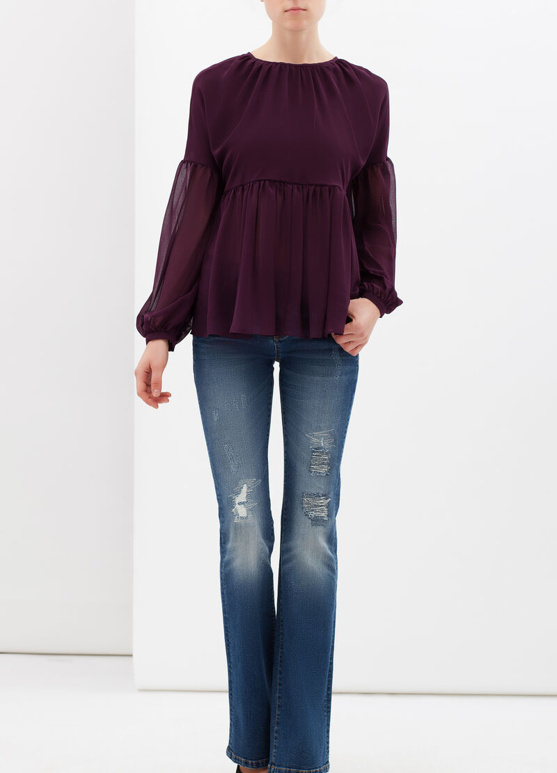 Semi-sheer pleated blouse