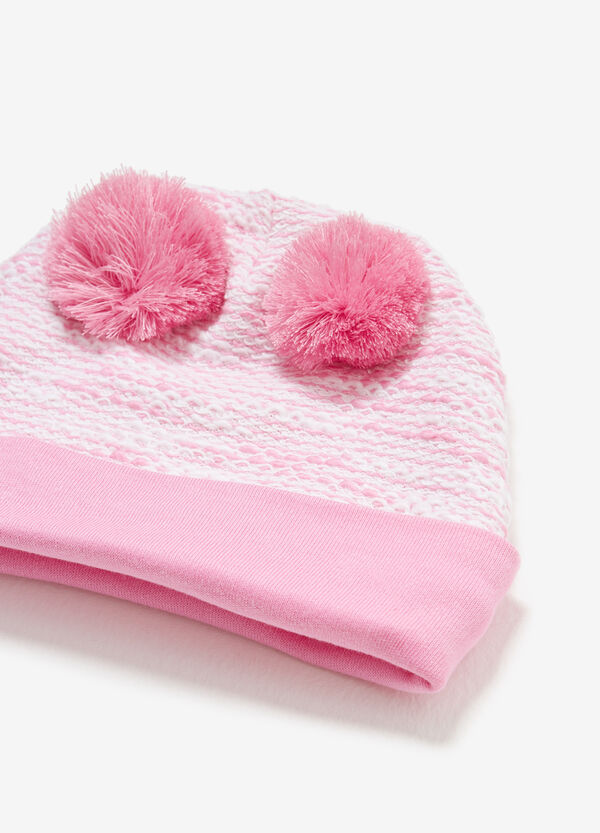 Two-tone hat with pompoms