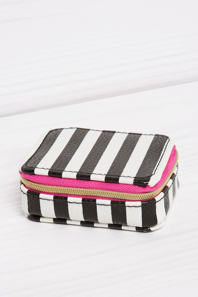 Eight-compartment pillbox with striped pattern