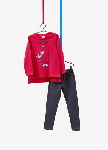 100% cotton tracksuit with kitten print