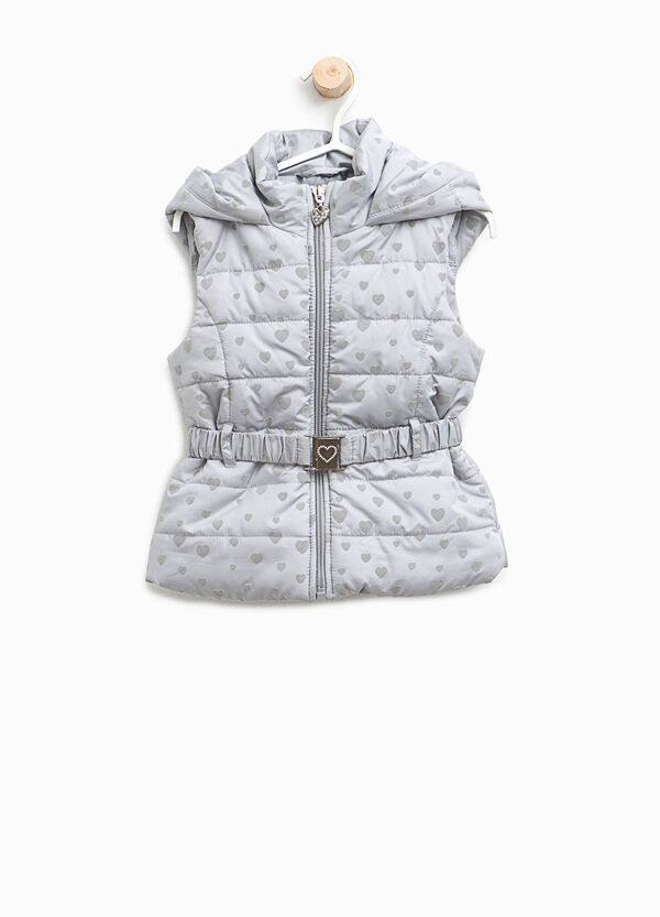 Padded gilet with hearts pattern