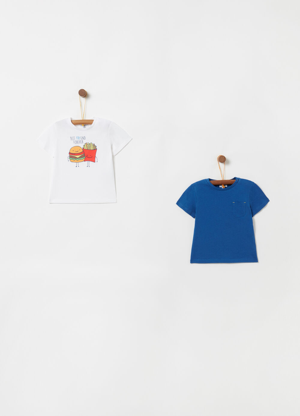 Two-pack 100% cotton T-shirts with button