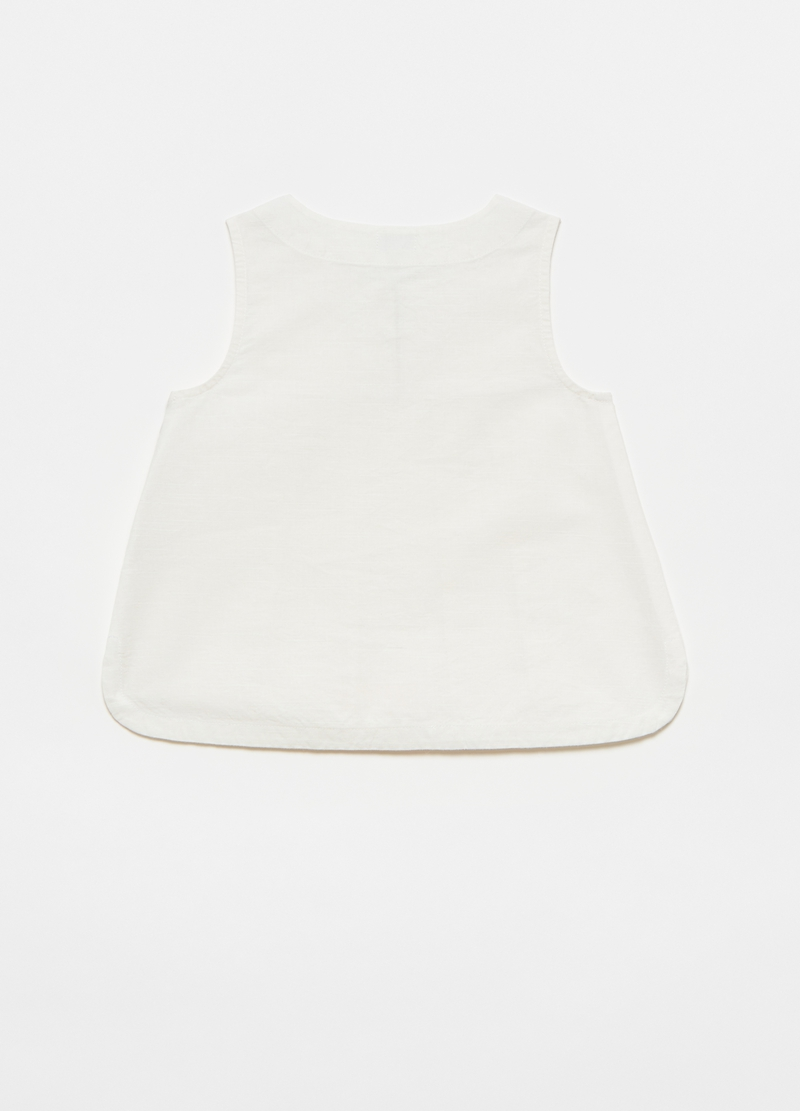 Sleeveless shirt in linen and cotton image number null