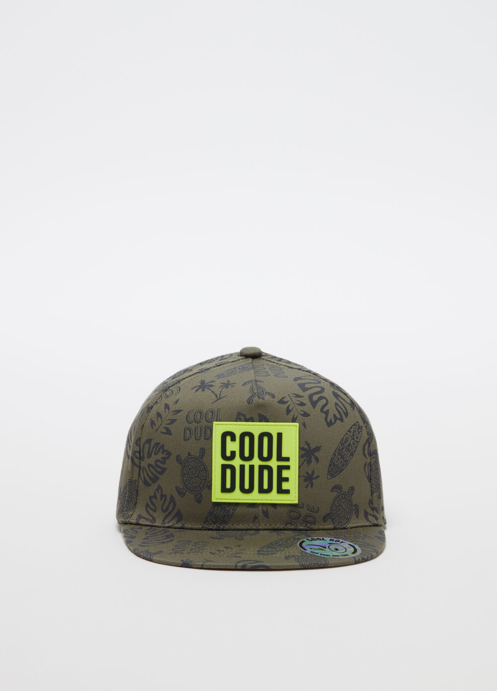Baseball cap with fluorescent patch and print