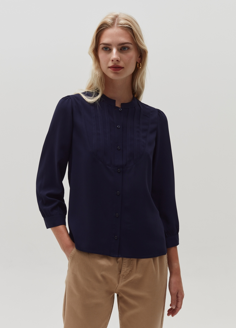 Viscose shirt with shirt front image number null