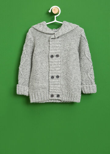 Mélange cardigan with hood