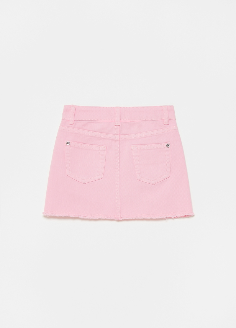 Solid colour cotton twill mini skirt image number null