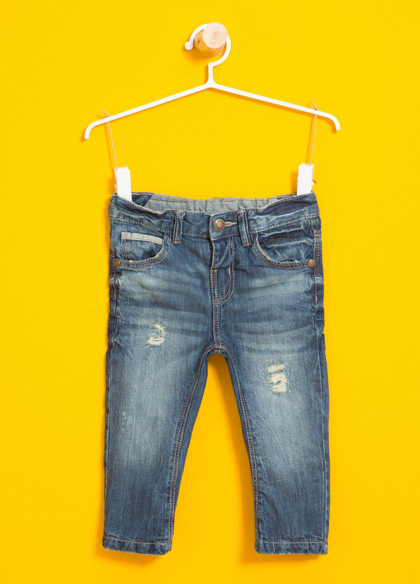 Worn-effect jeans with rips | OVS