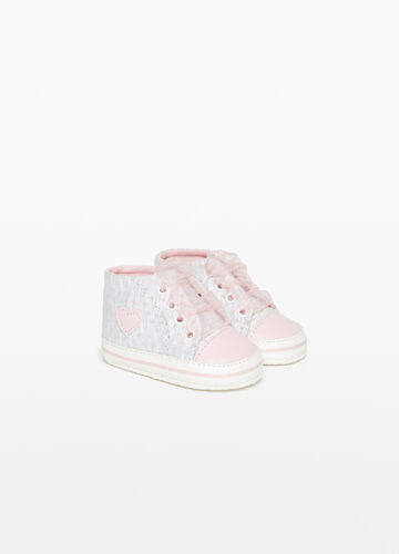 High-top mélange sneakers with patch