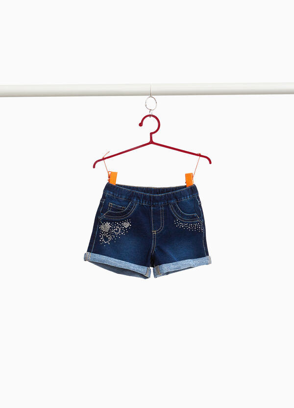 Stretch denim shorts with diamanté hearts