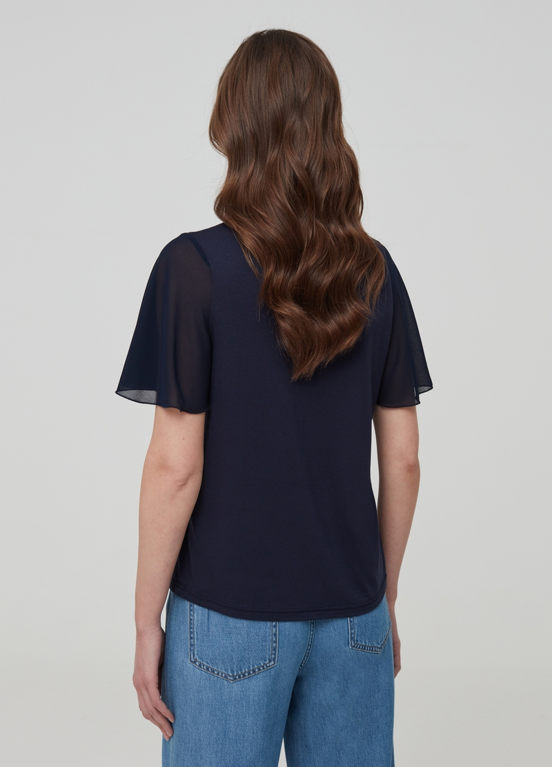 T-shirt with V neck and tulle sleeves image number null