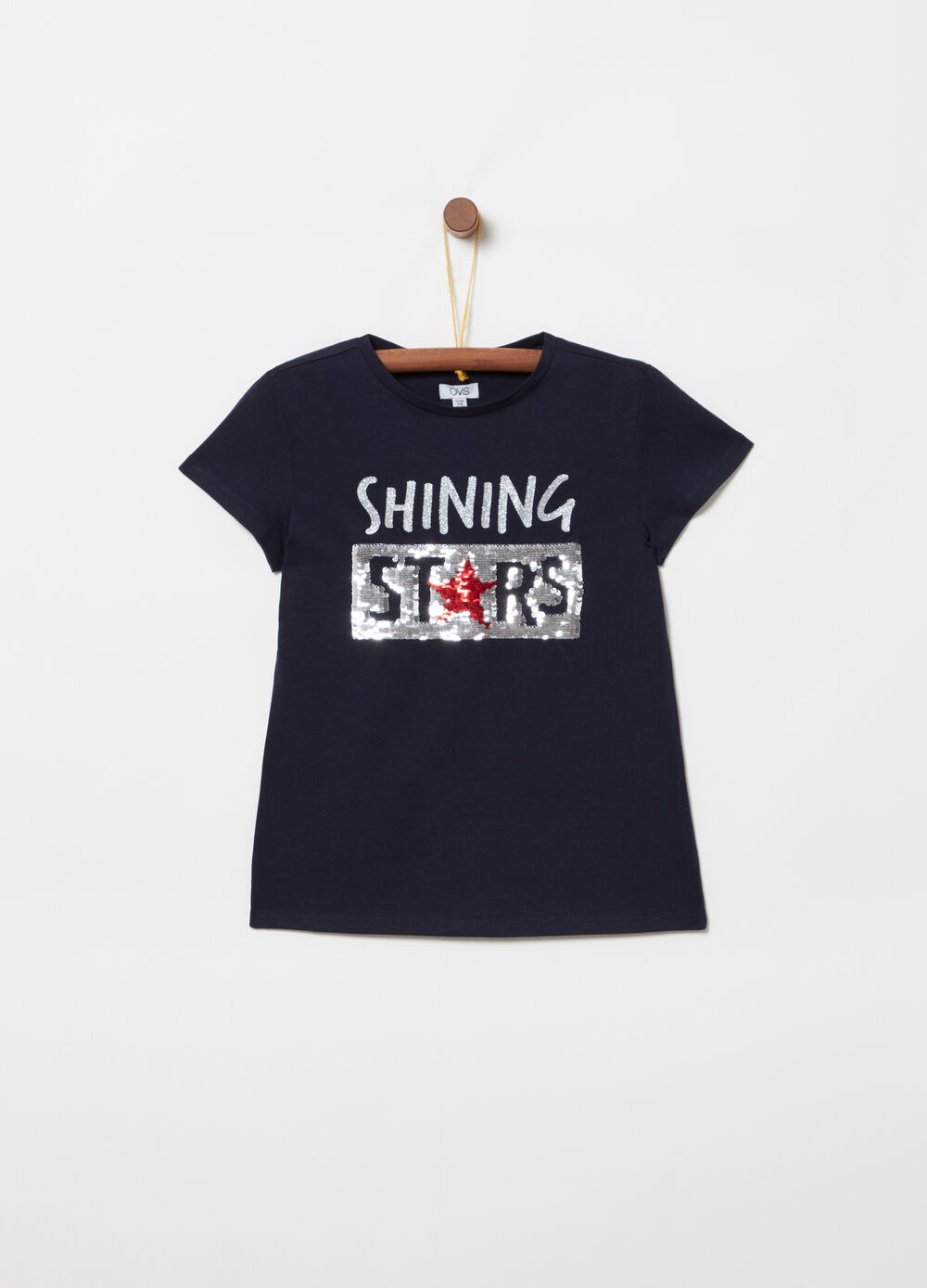 Printed T-shirt with glitter and reversible sequins