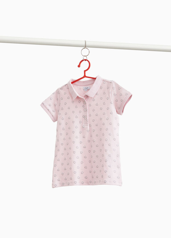 Stretch cotton polo shirt with glitter hearts