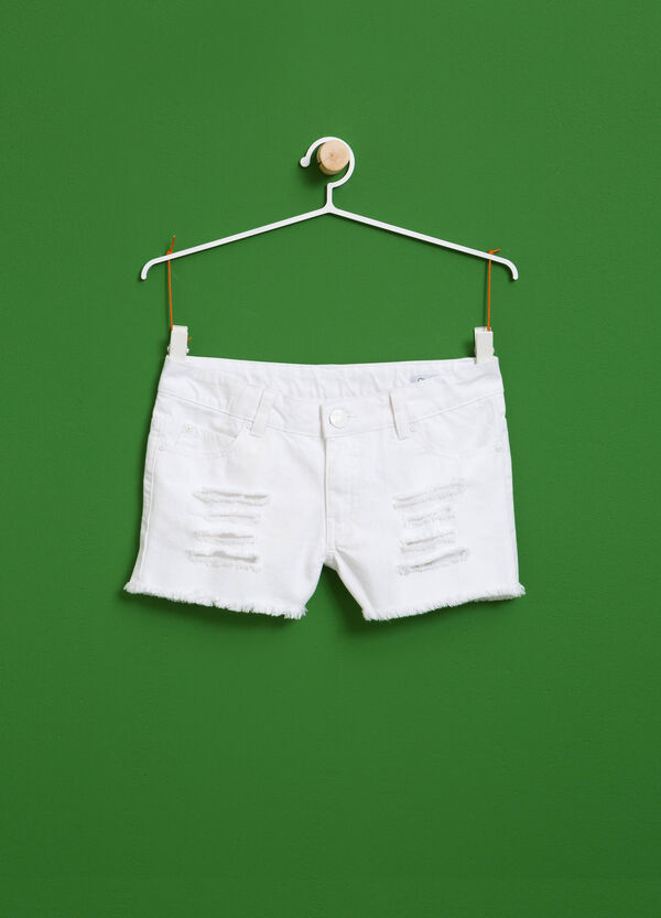 Shorts with rips and frayed hem | OVS