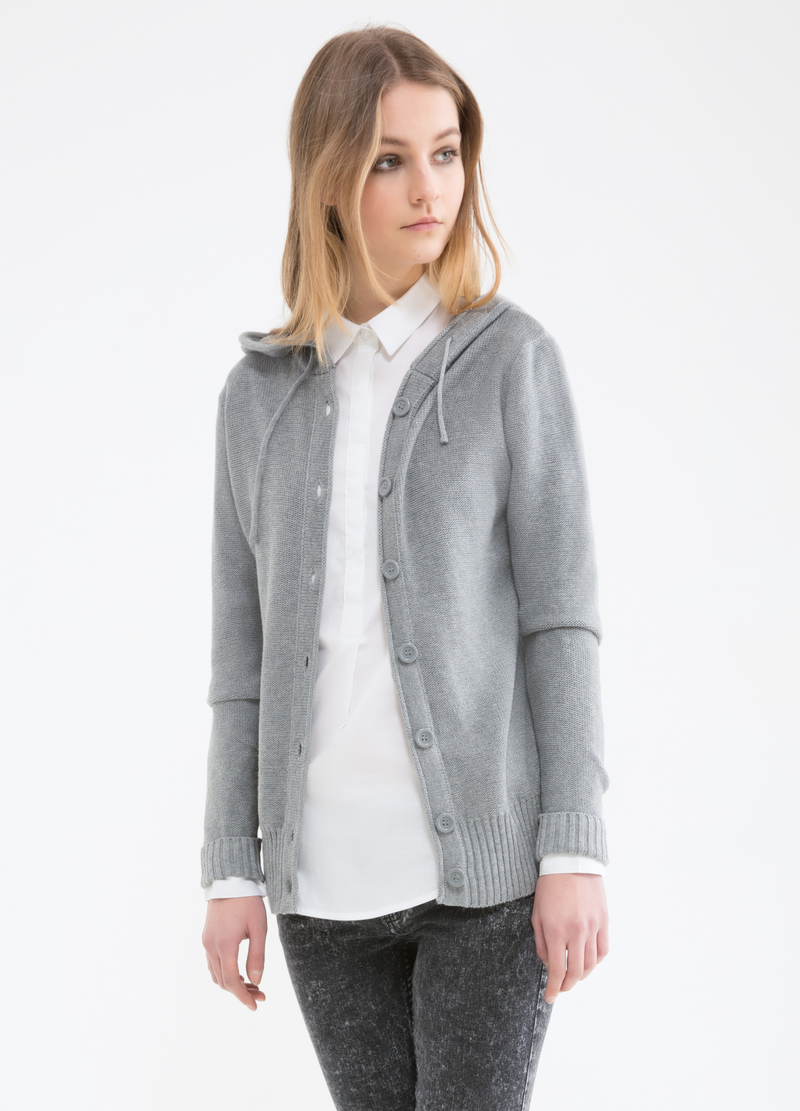 Solid colour 100% cotton cardigan. image number null