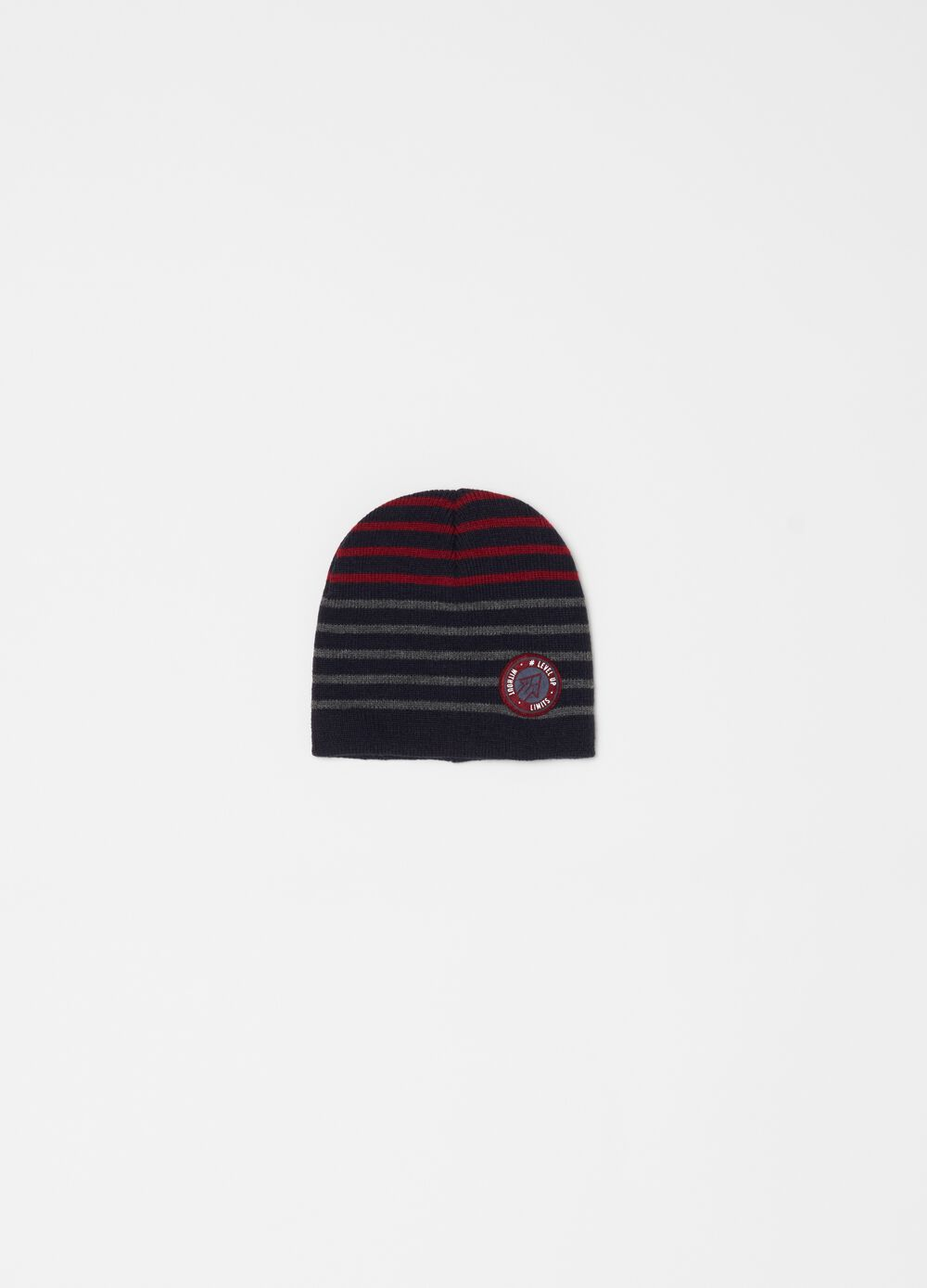 Striped hat with patch