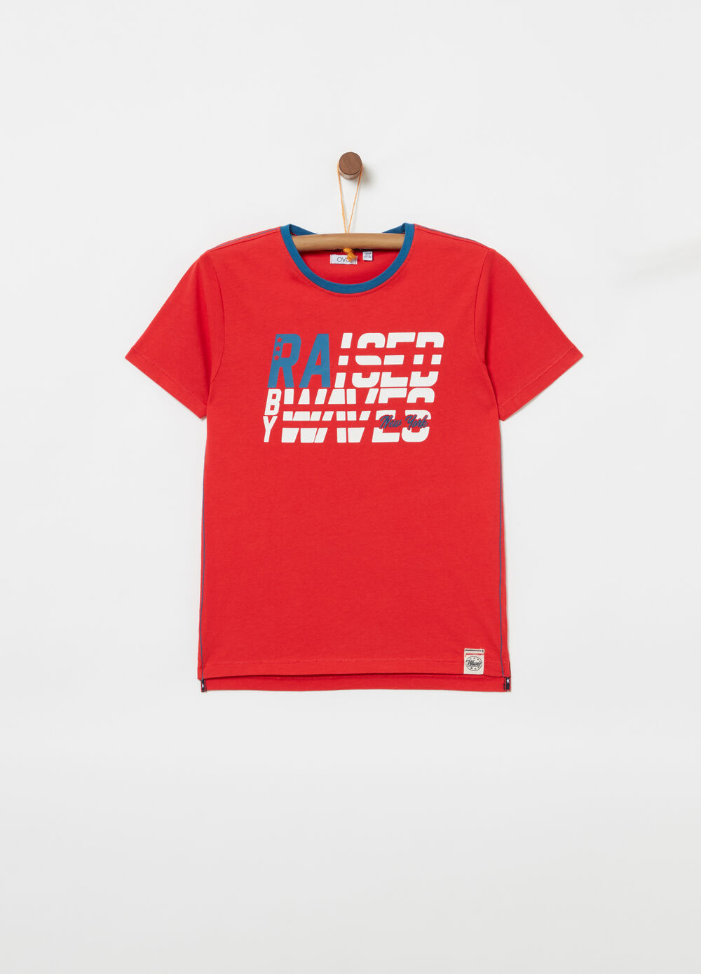 T-shirt with contrasting ribbing and print