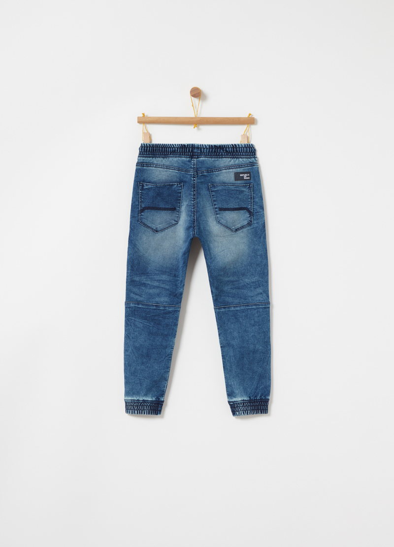 Joggers in washed-effect denim French terry image number null