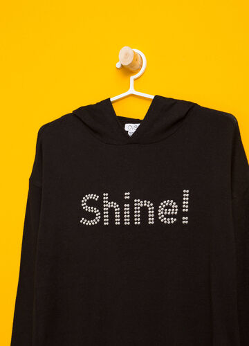 Stretch pullover with diamanté lettering
