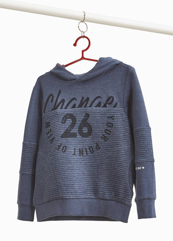 Stretch sweatshirt with striped weave and print