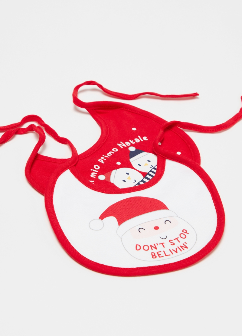 Two-pack 100% cotton bibs with Christmas print image number null