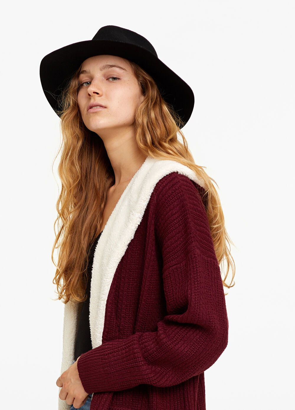 Knit cardigan with faux fur