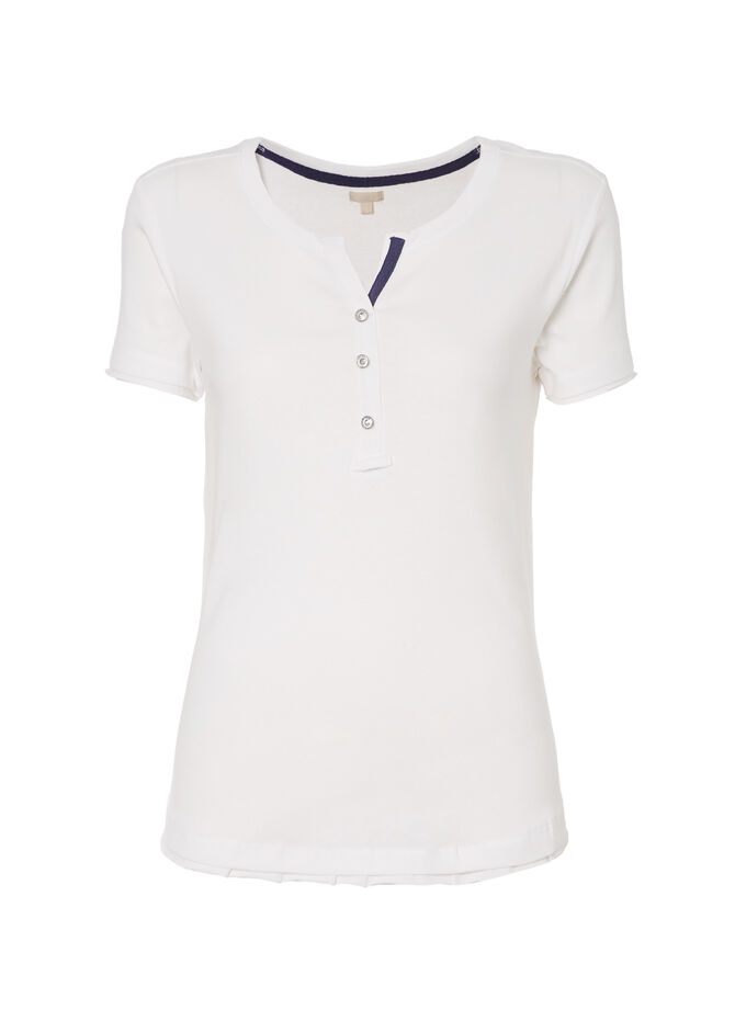 Smart Basic  T-shirt with beaded buttons