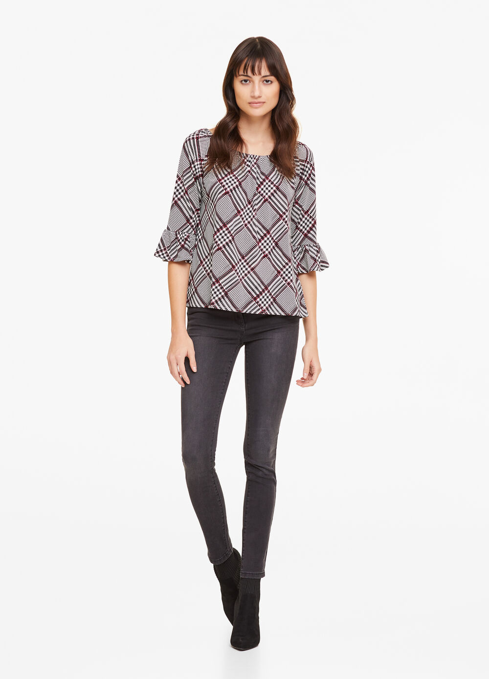 T-shirt with tartan pattern and flounce