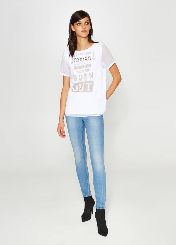 Printed cotton T-shirt with beads