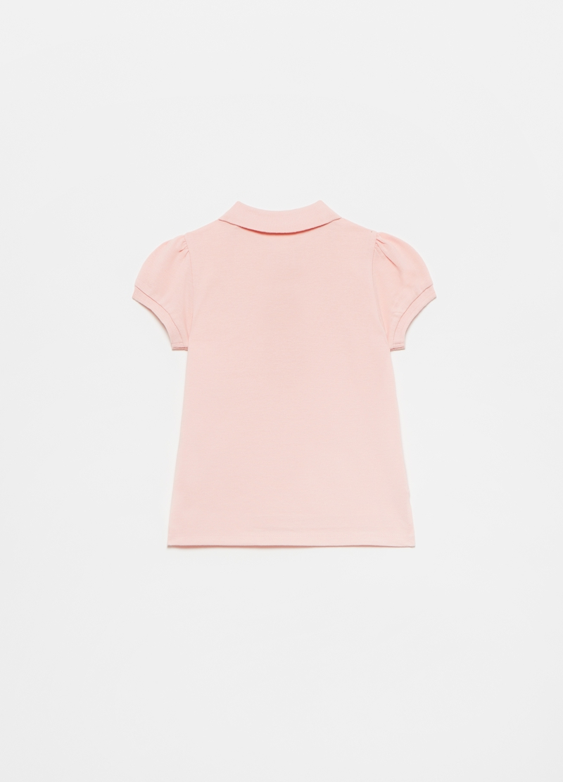 Cotton piquet polo shirt with sequinned heart image number null