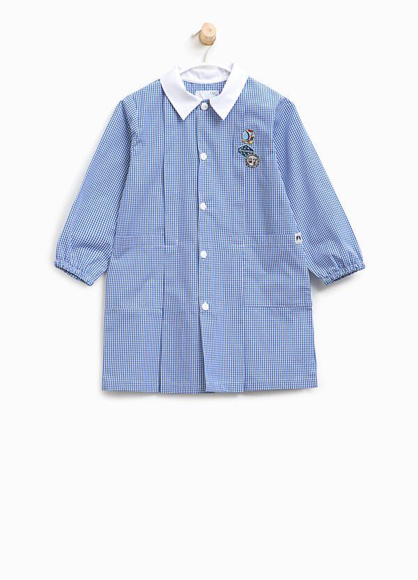 Micro check smock with patch