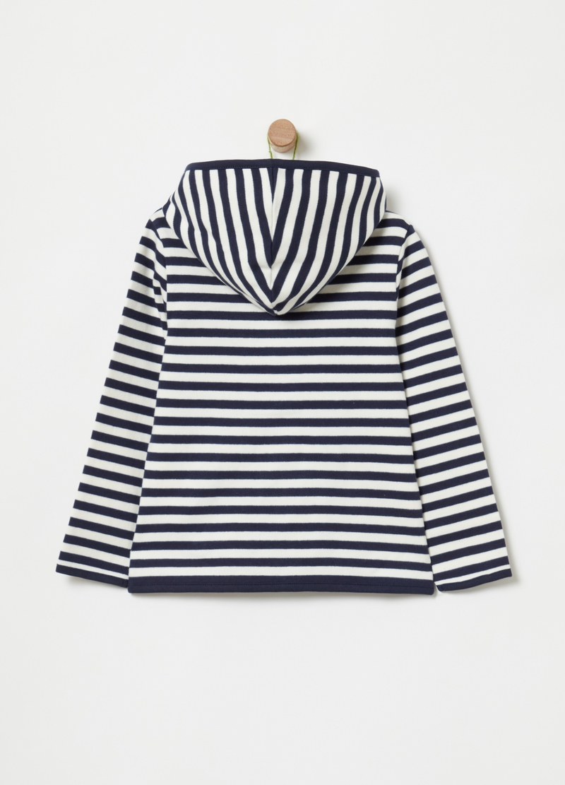100% cotton sweatshirt with zip and stripes image number null