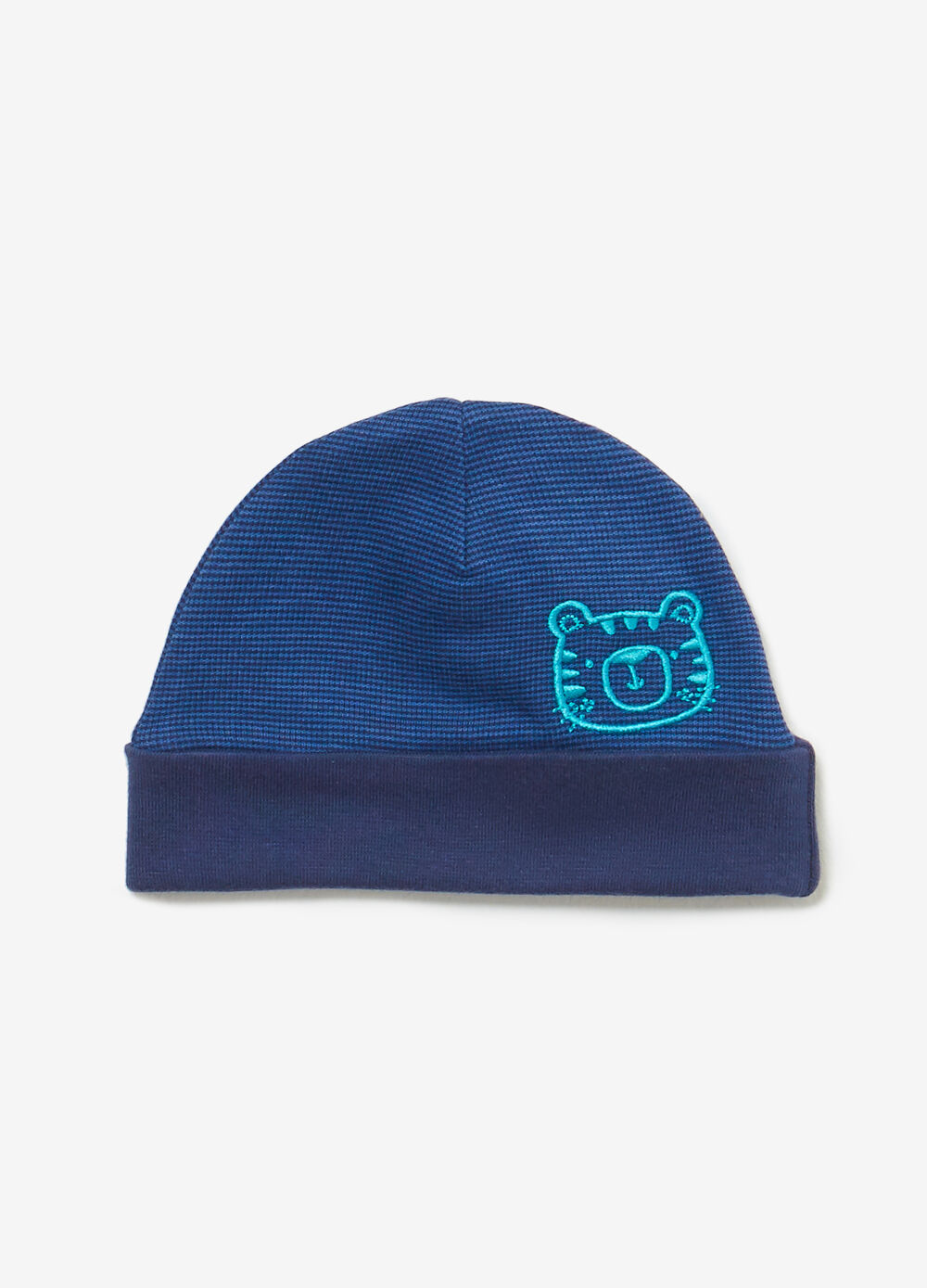 Striped beanie cap with tiger embroidery