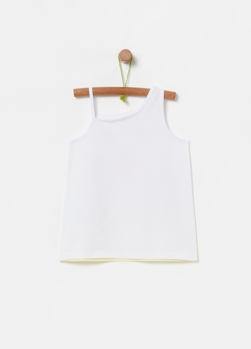 Tank top with degradé print and palm image number null