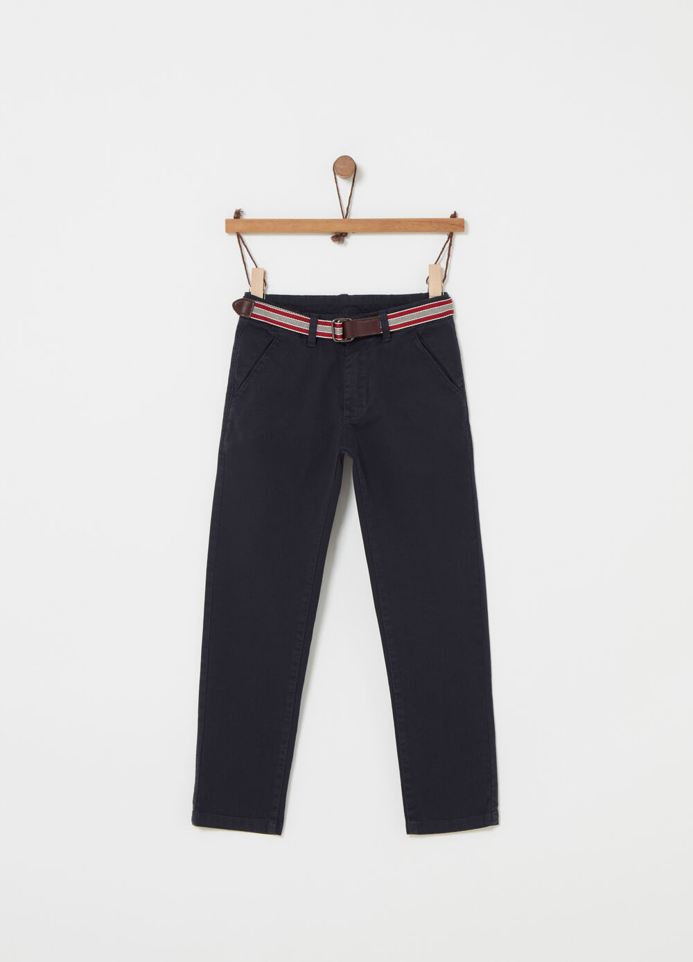 Trousers with striped belt and pockets