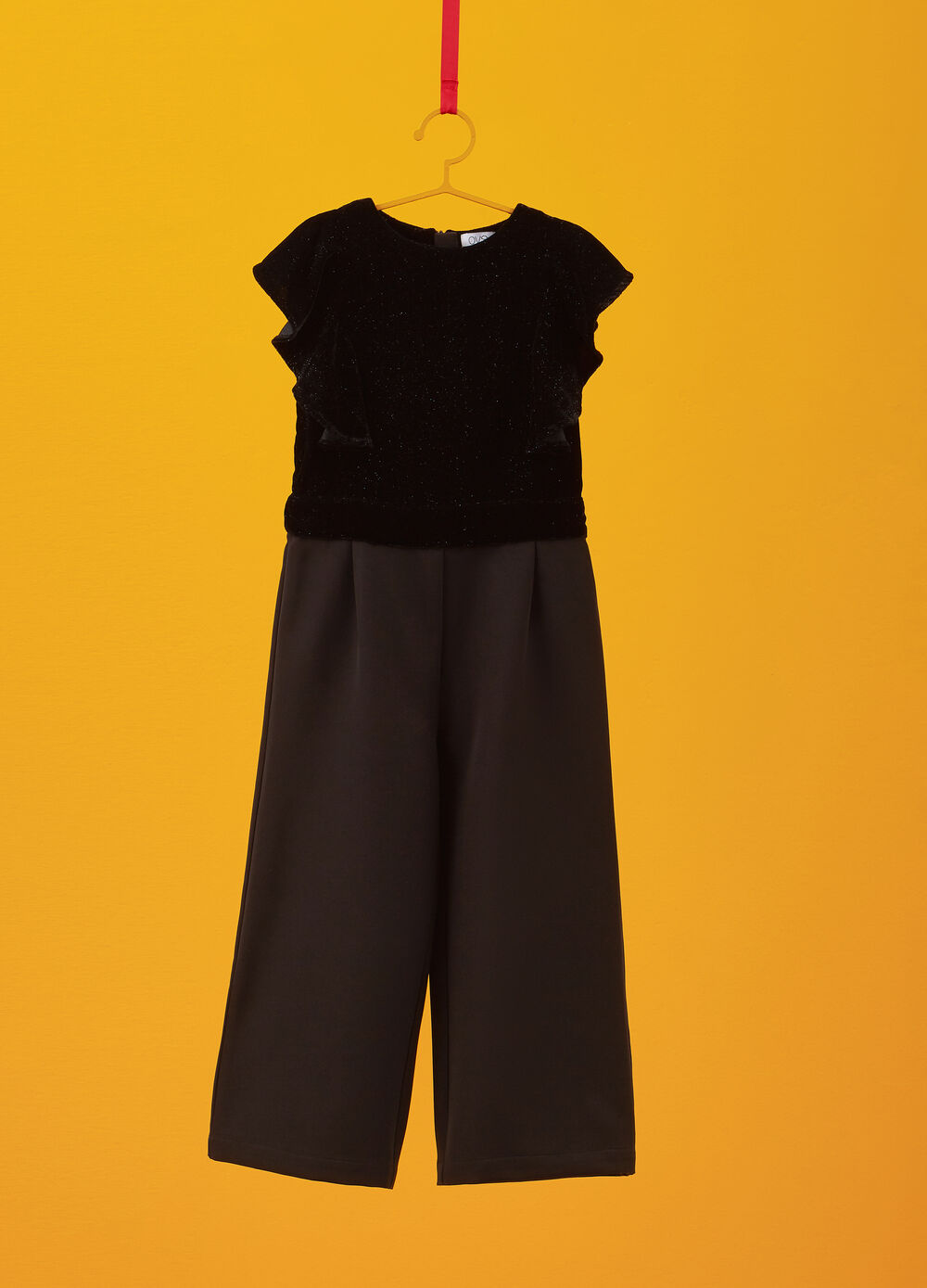 Pinafore with trousers and flounce