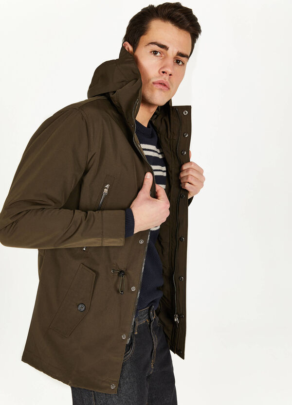 Parka with high neck and hood