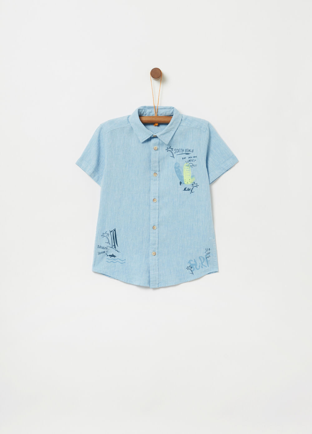 Short-sleeved shirt with print