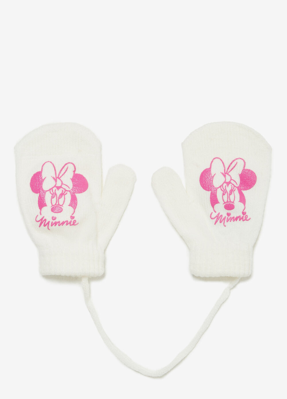 Solid colour mittens with maxi Minnie Mouse print