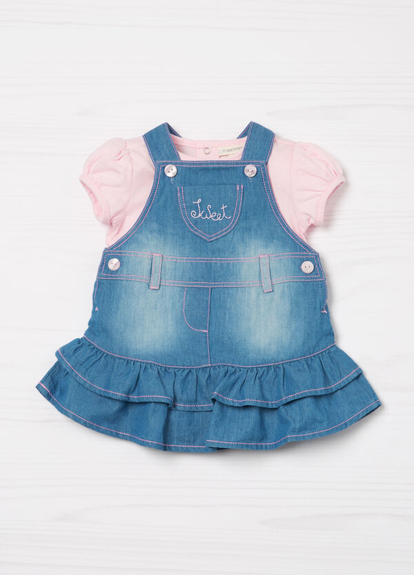Denim dungaree skirt and T-shirt outfit | OVS