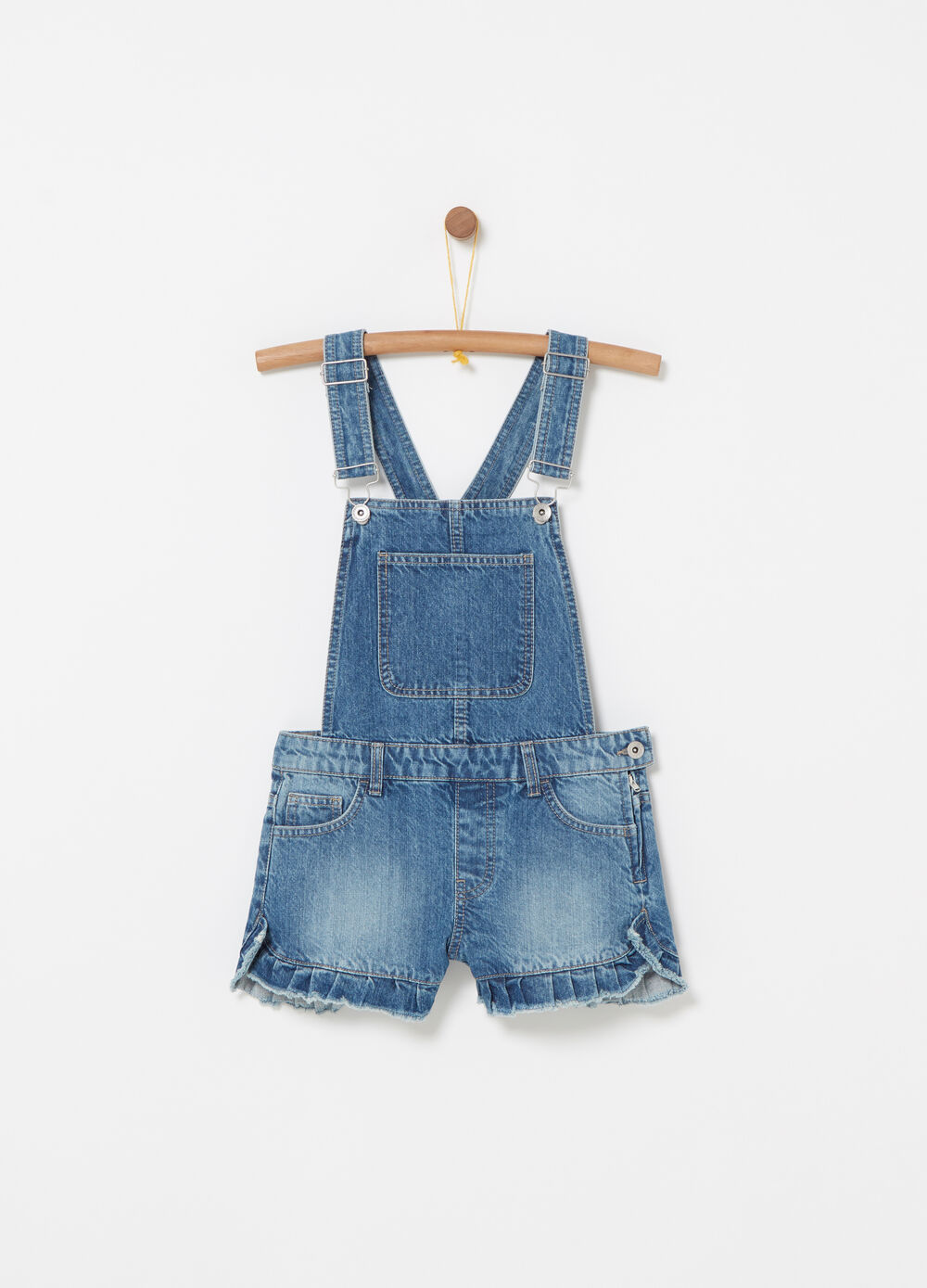 Washed-effect denim dungarees with frills