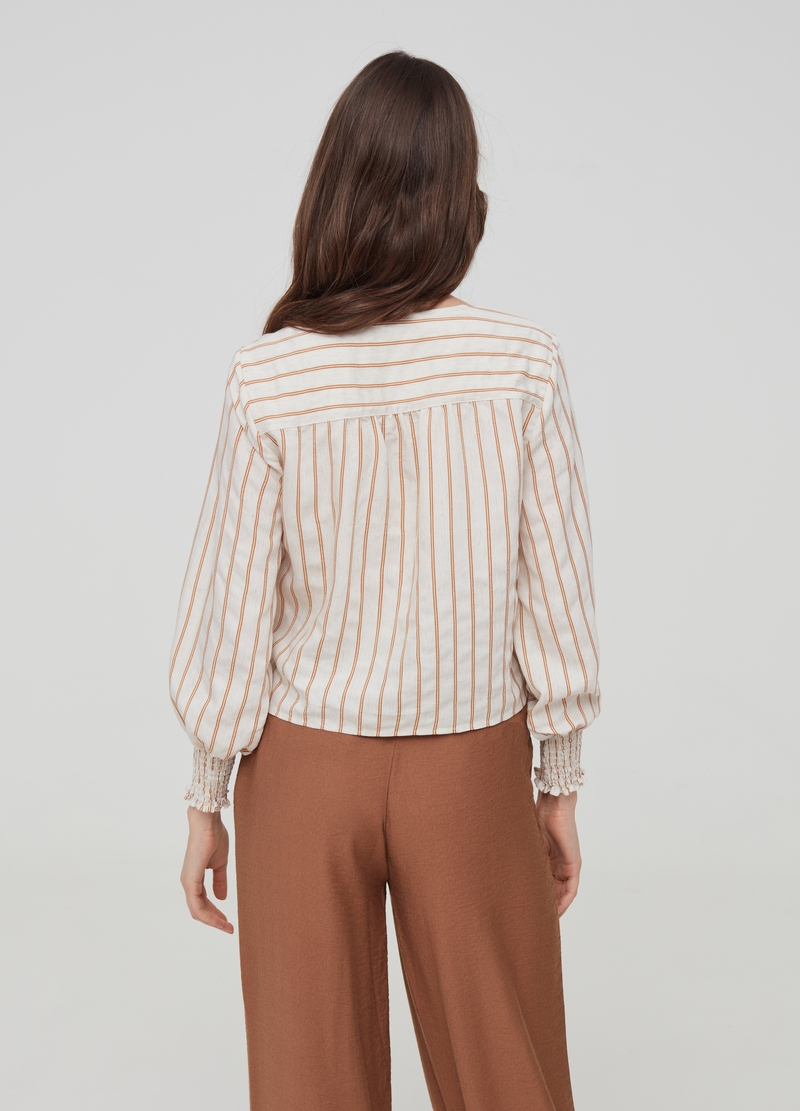 Striped linen and cotton shirt image number null