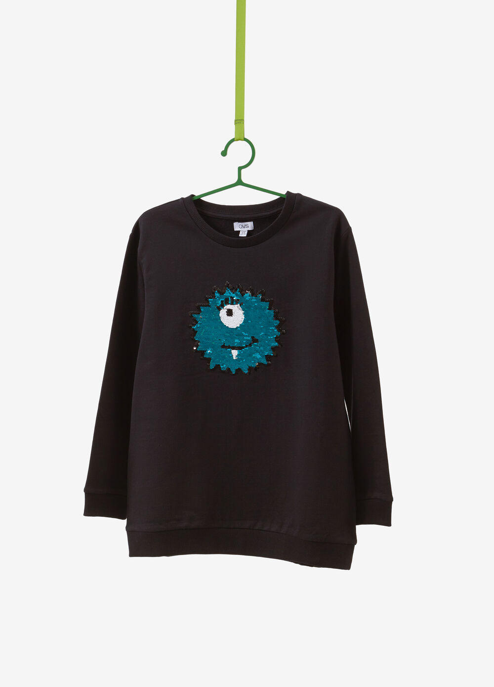 100% cotton sweatshirt with sequinned sun