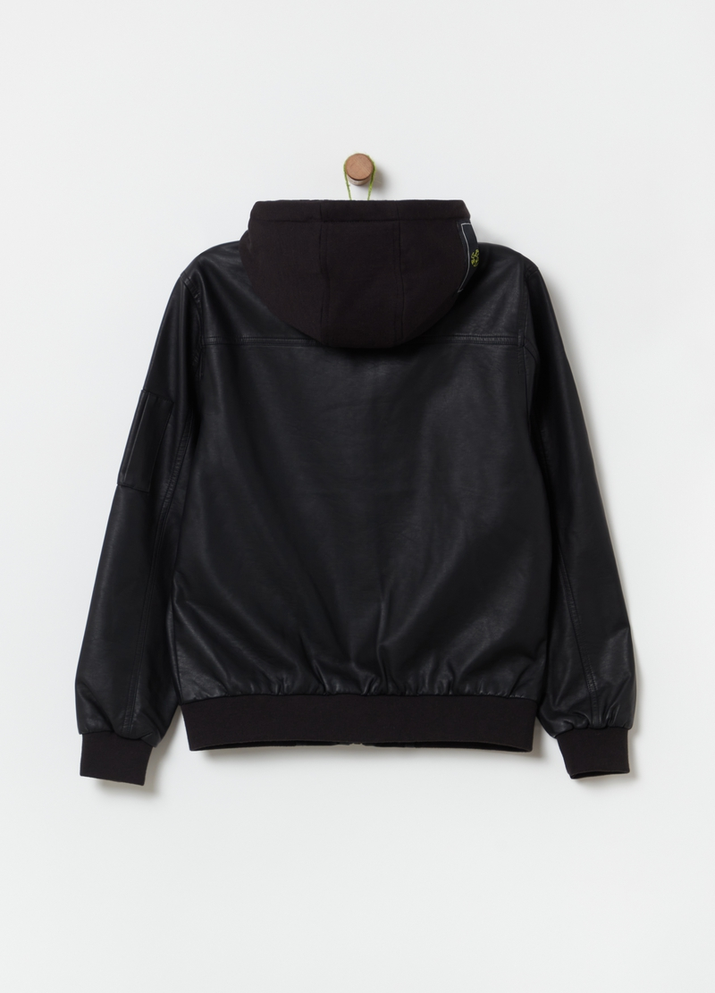 Faux leather bomber jacket with hood image number null