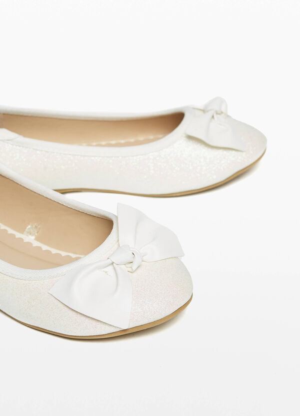 Glitter canvas ballerina flats with bow