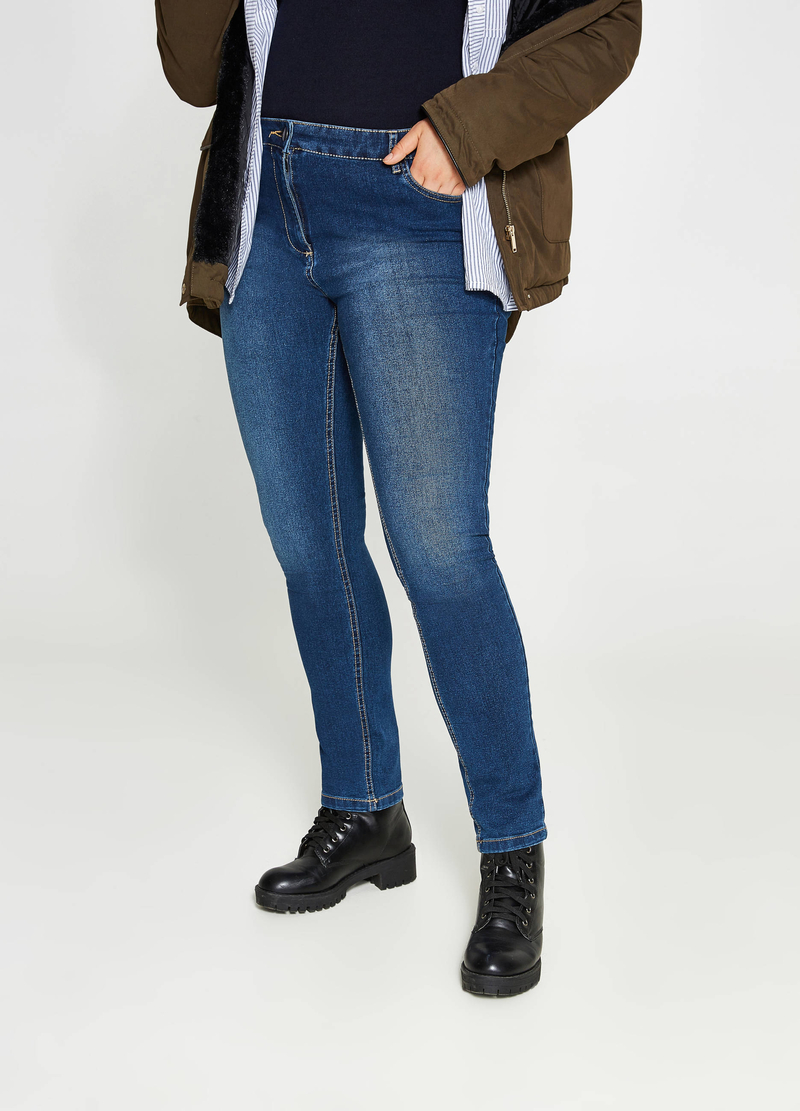 Curvy faded-effect relaxed-fit jeans image number null
