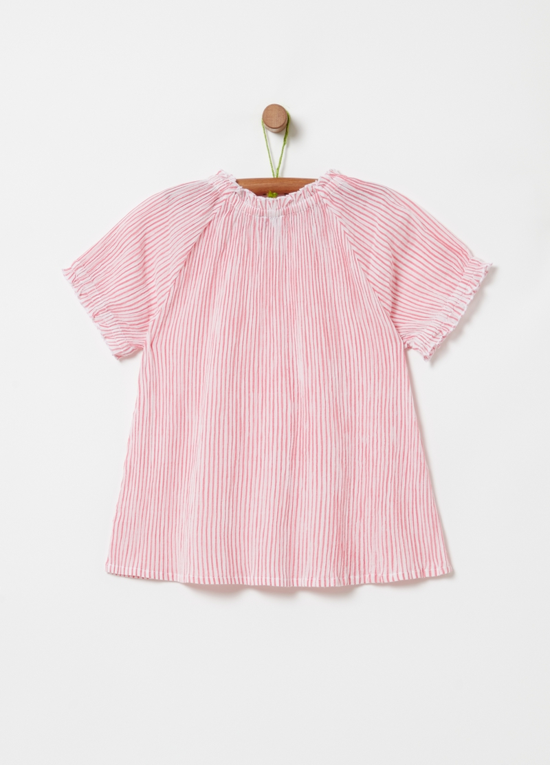 Striped blouse with raglan sleeves image number null